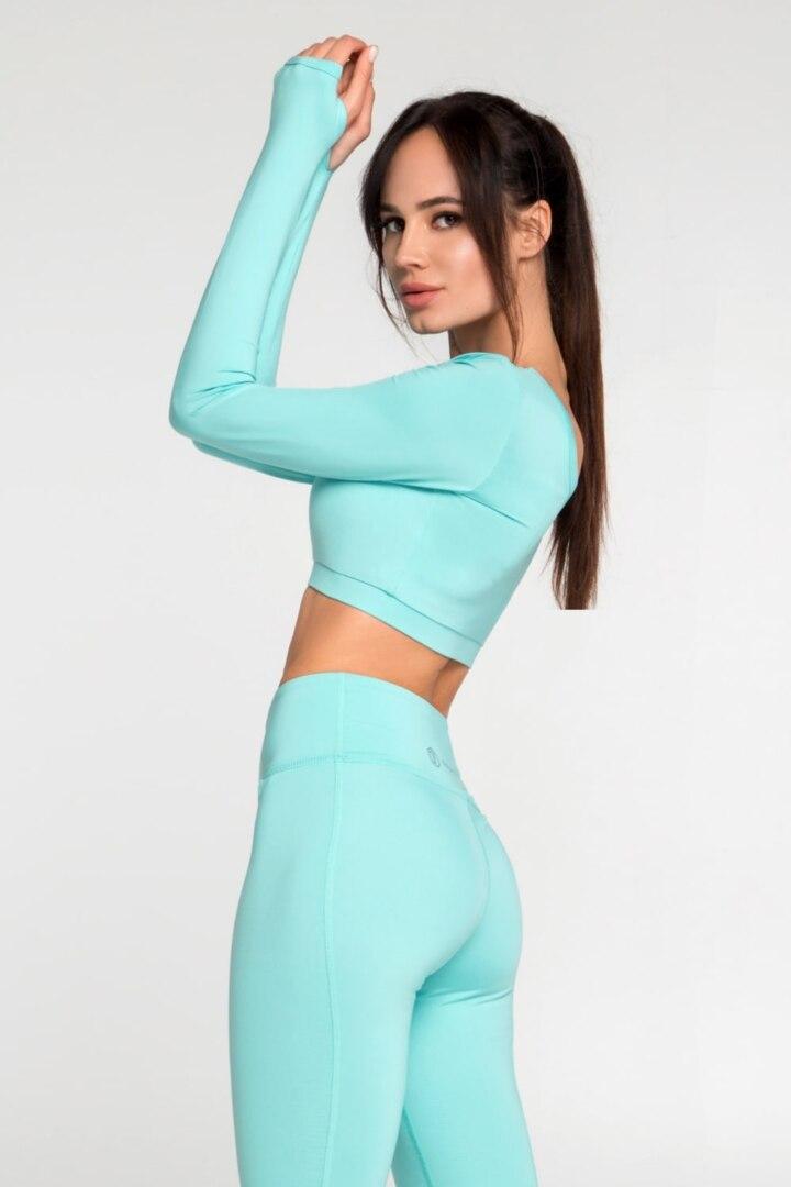 Женский спортивный топ с длинным рукавом