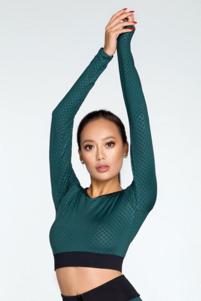 Женский топ с длинным рукавом для фитнеса