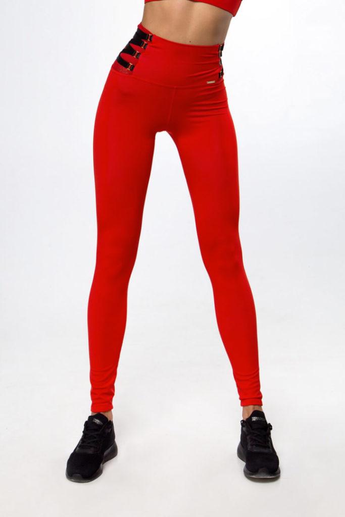 Женские красные леггинсы для фитнеса