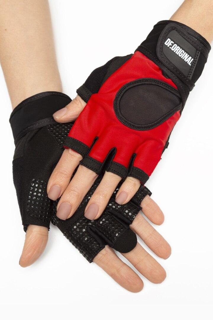 перчатки для фитнеса красный цвет